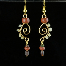Earrings with Roman red, purple, translucent glass beads