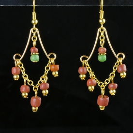 Earrings with Roman red and green glass beads
