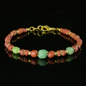 Bracelet with Roman red and green glass beads