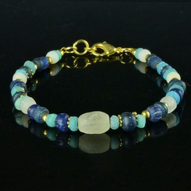 Bracelet with Roman blue, turquoise and white glass beads