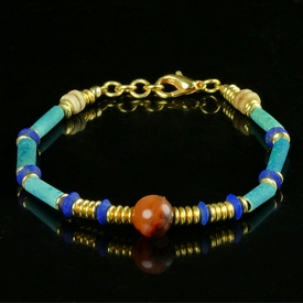 Bracelet with Egyptian faience, lapis and carnelian beads