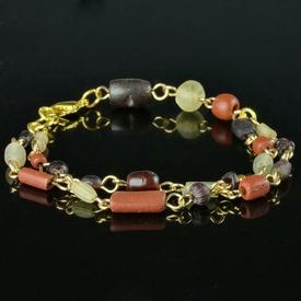 Bracelet with Roman red, purple, translucent glass beads