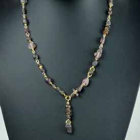 Necklace with Roman wire-wrapped purple glass beads