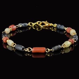 Bracelet with Roman red, black, semi-translucent glass beads