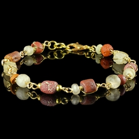 Bracelet with Roman wire-wrapped red glass beads