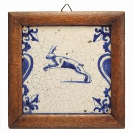 Dutch Delft blue and white tile with jumping hare