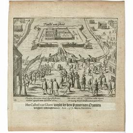 Antique historical print 'Siege Spanish Garrison Gent 1576'