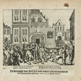 Antique historical print 'Duke d'Aerschot arrested in Gent'