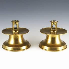 Antique pair of brass Capstan candlesticks, rare type