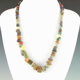 Necklace with ancient stone and glass beads