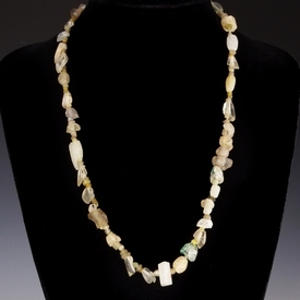 Necklace with Roman semi-translucent glass and stone beads