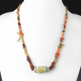 Necklace with Egyptian and Roman glass and coral beads