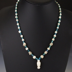 Necklace with Roman turquoise glass, stone and shell beads