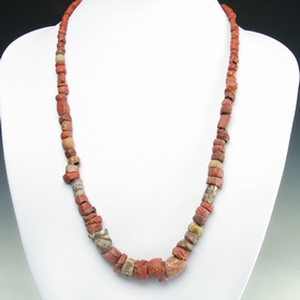 Necklace with Roman red glass, stone and faience beads