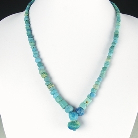 Necklace with Roman turquoise glass and faience beads