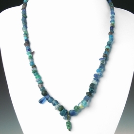 Necklace with ancient glass beads, pendant with bronze wire