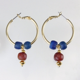 Earrings with Roman blue and carnelian beads