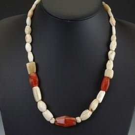 Necklace with ancient stone and carnelian beads