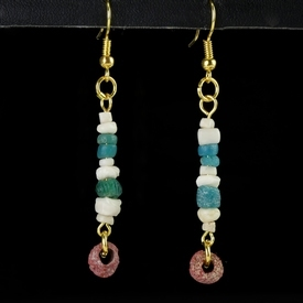 Earrings with Roman turquoise and red glass and shell beads