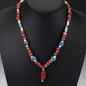 Necklace with Roman red/orange, blue and green glass beads