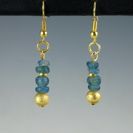 Earrings with Roman aquamarine colour glass beads