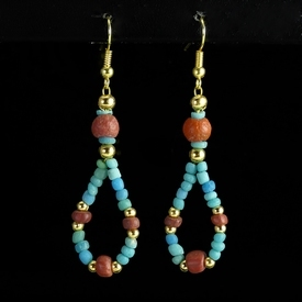 Earrings with Roman turquoise and red glass beads