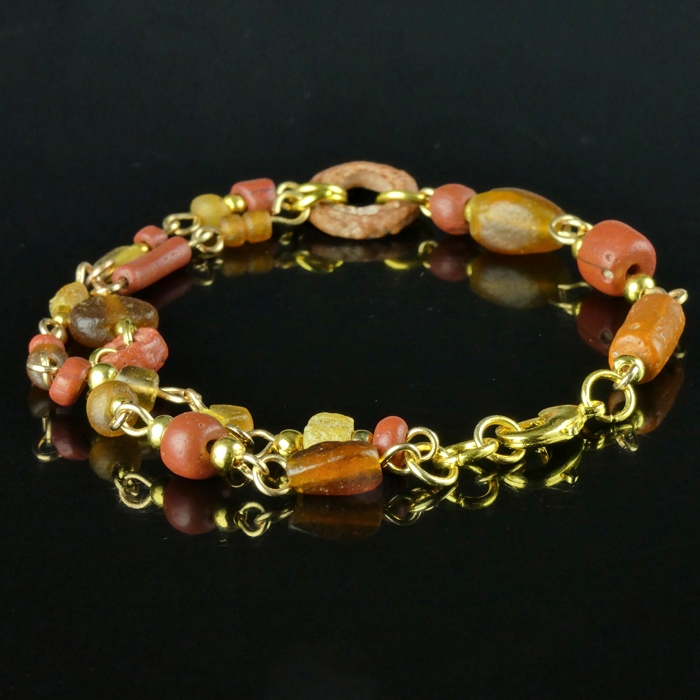 Bracelet with Roman red and amber colour glass beads