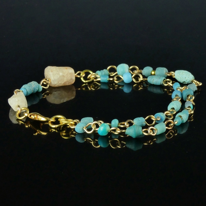 Bracelet with Roman turquoise, semi-translucent glass beads
