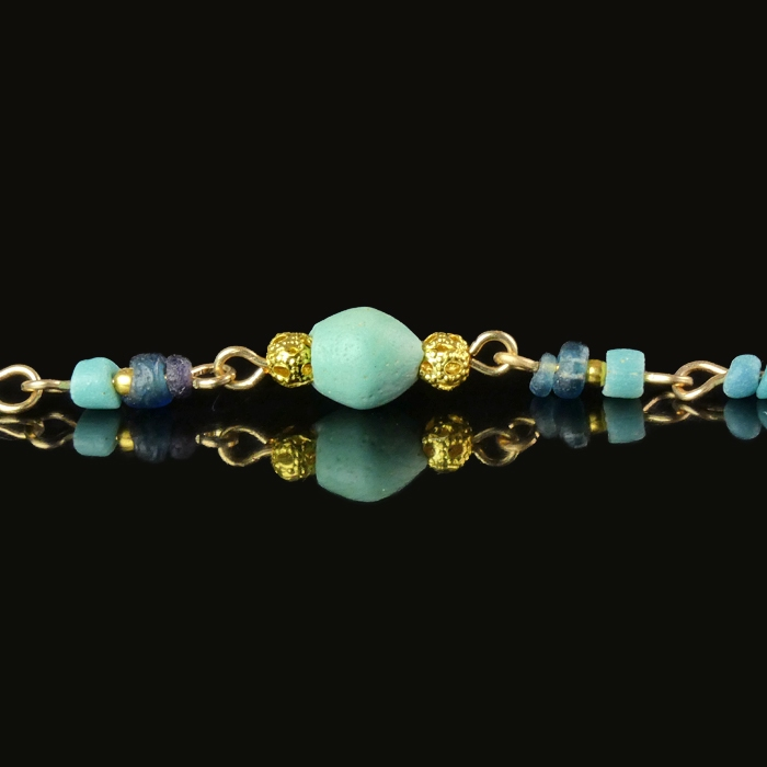 Bracelet with Roman turquoise and blue glass beads