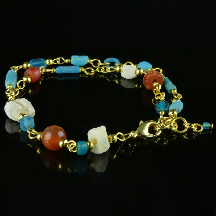 Bracelet with Roman turquoise glass, carnelian, shell beads