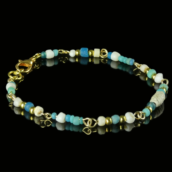 Bracelet with Roman turquoise glass and shell beads