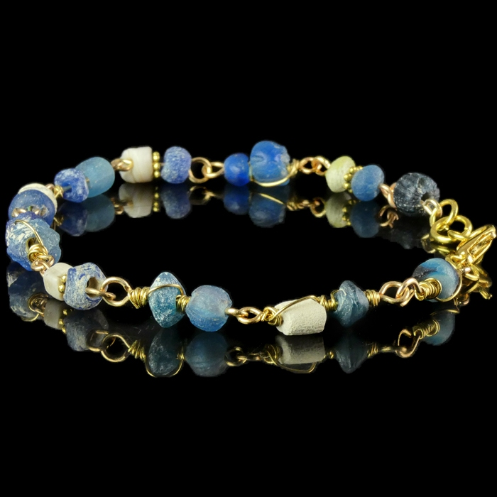 Bracelet with Roman wire-wrapped blue glass and shell beads