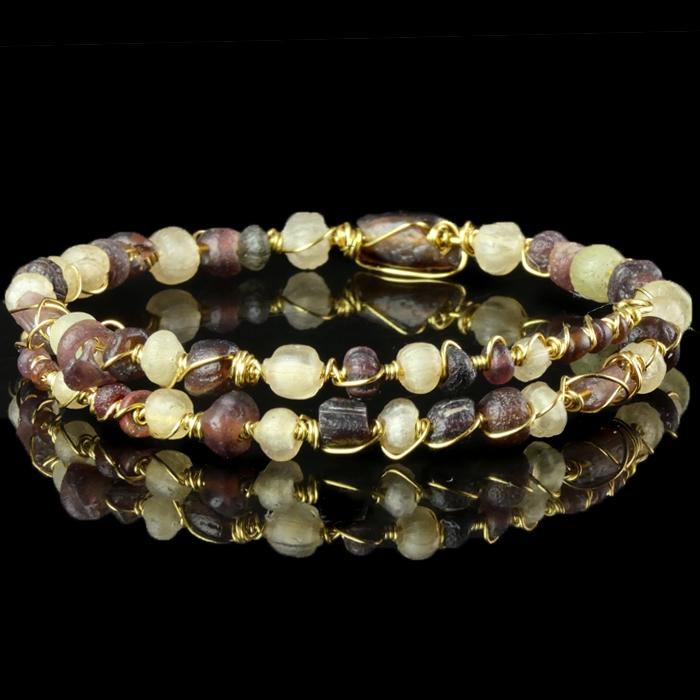 Bracelet with Roman wire-wrapped purple glass beads
