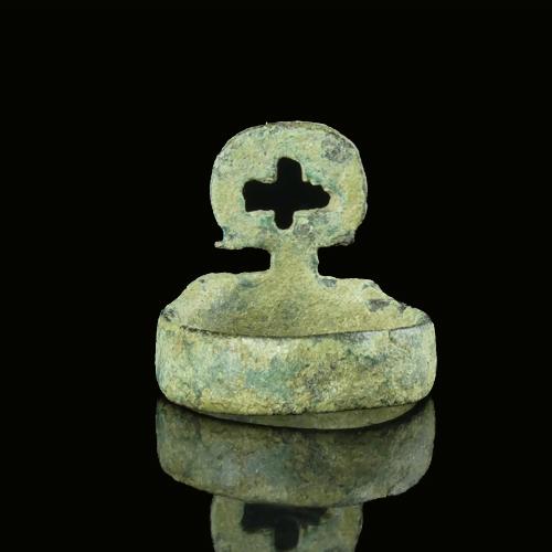 Byzantine bronze ring with cross, rare