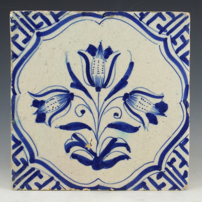 Dutch Delft blue and white tile, Wan-Li tulip motif