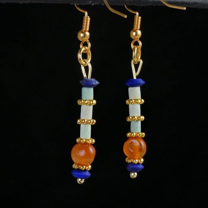 Earrings with Egyptian faience, lapis and carnelian beads