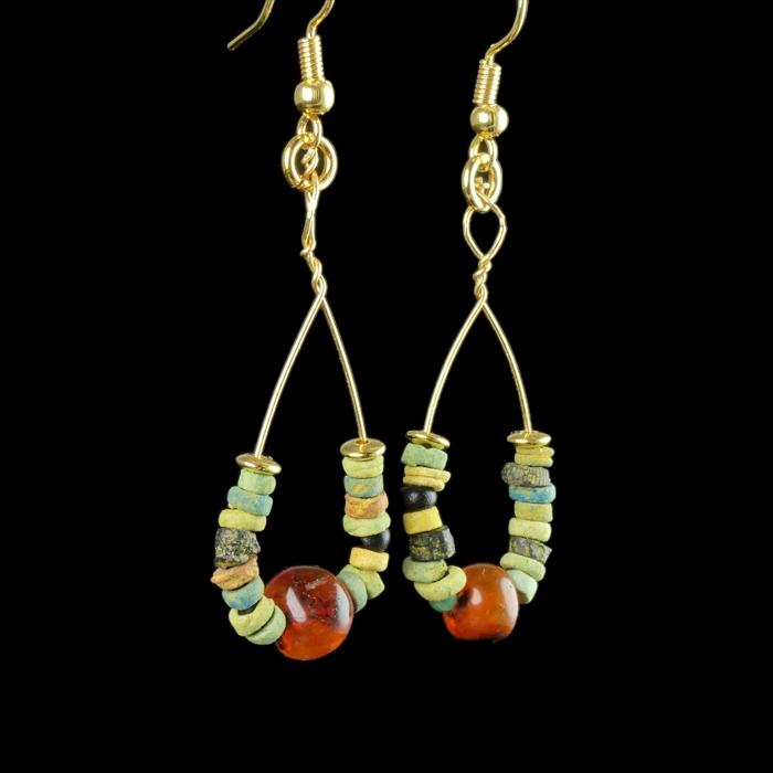 Earrings with Egyptian faience and carnelian beads