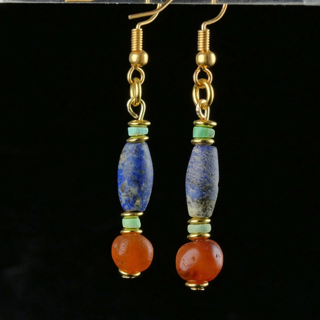 Earrings with Egyptian Lapis, carnelian and faience beads