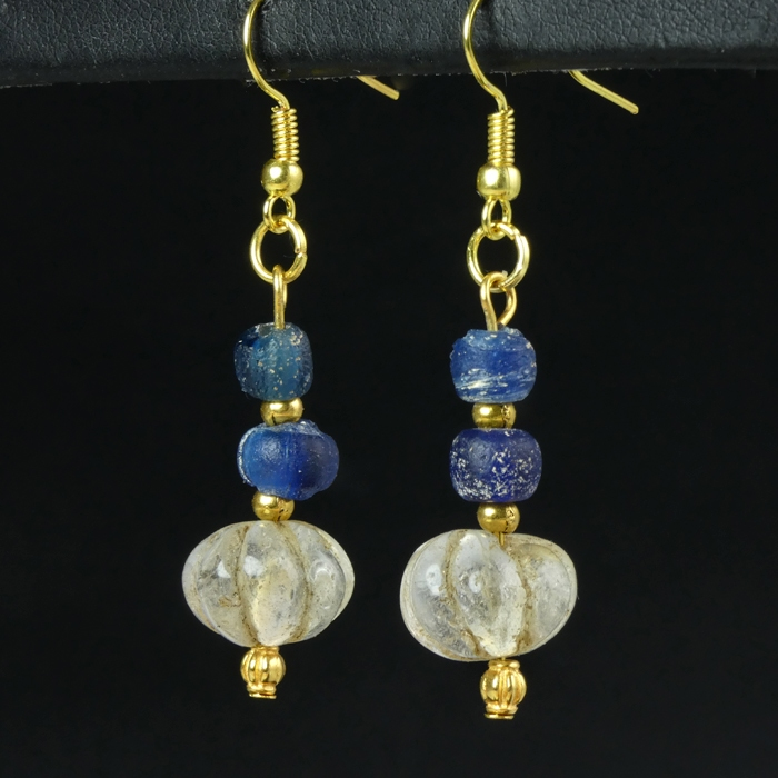 Earrings with Roman blue and ancient crystal melon beads