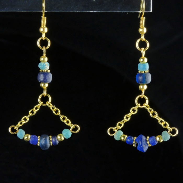 Earrings with Roman blue and turquoise glass beads