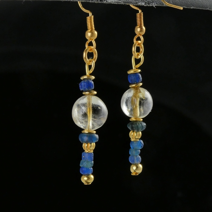 Earrings with Roman blue glass and ancient crystal beads