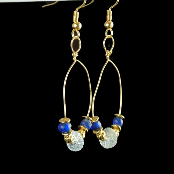 Earrings with Roman blue glass and crystal melon beads