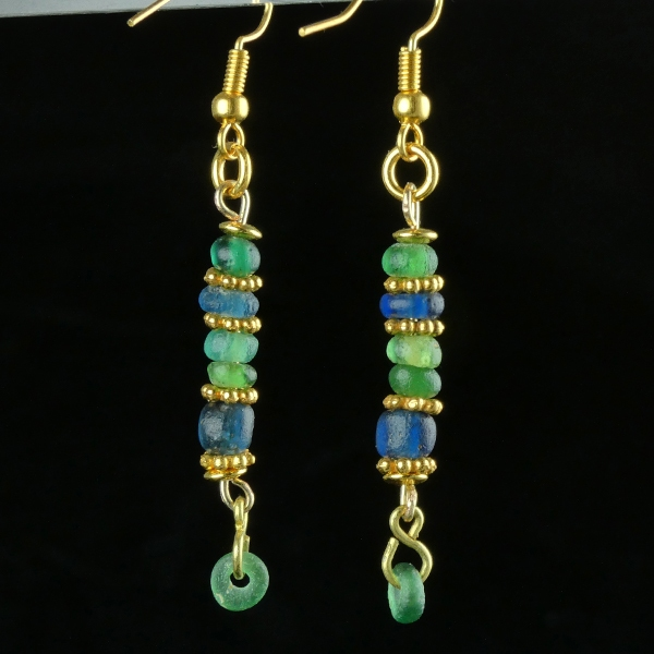 Earrings with Roman green and blue glass beads