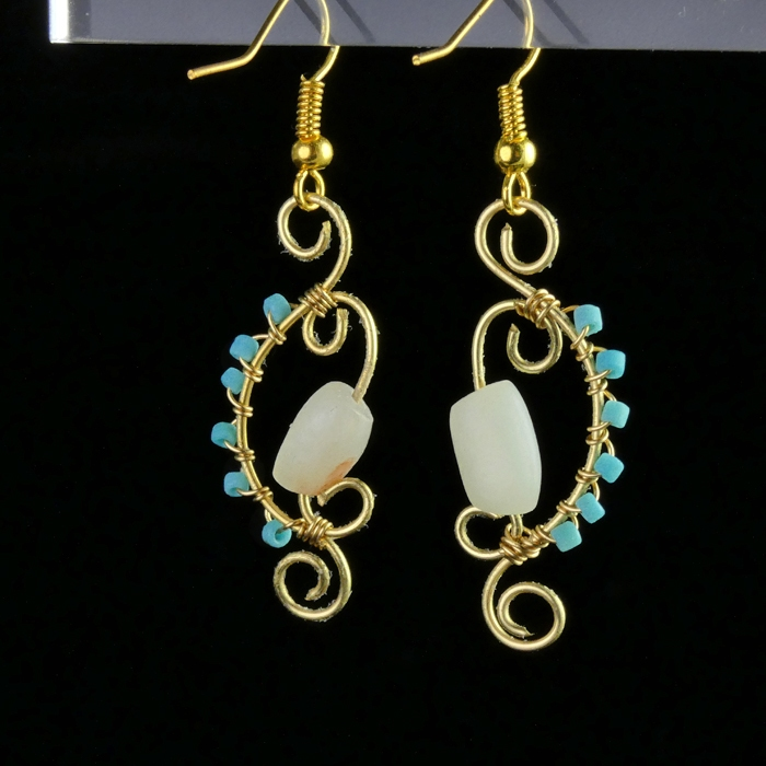Earrings with Roman turquoise and white glass beads