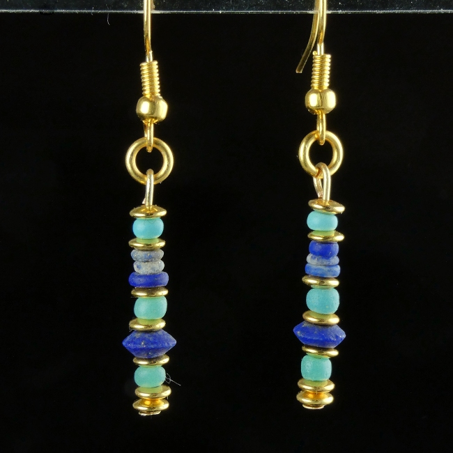Earrings with Roman turquoise glass and Lapis Lazuli beads
