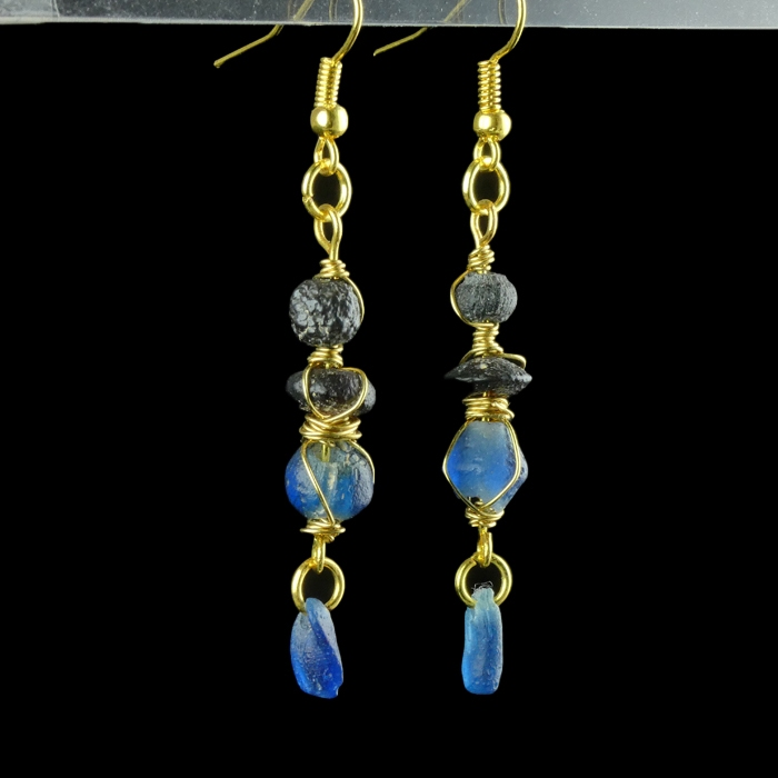 Earrings with Roman wire-wrapped blue glass beads