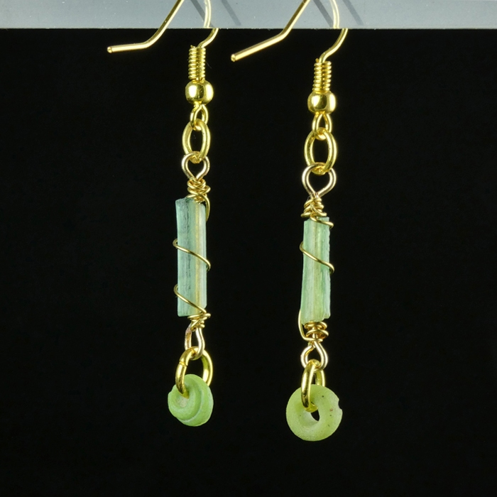Earrings with Roman wire-wrapped green glass beads