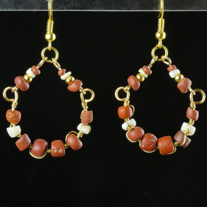 Earrings with Roman wire-wrapped red glass and shell beads