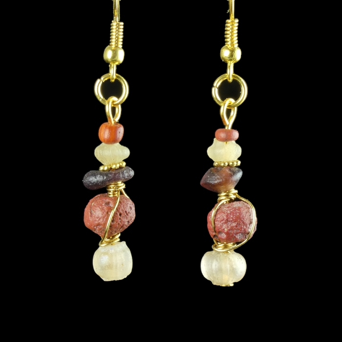 Earrings with Roman wire-wrapped red glass beads