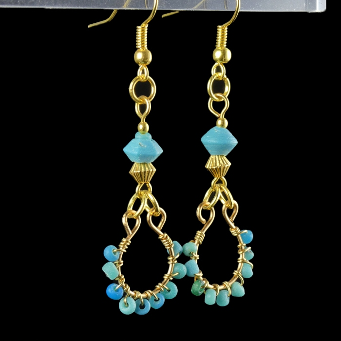 Earrings with Roman wire-wrapped turquoise glass beads